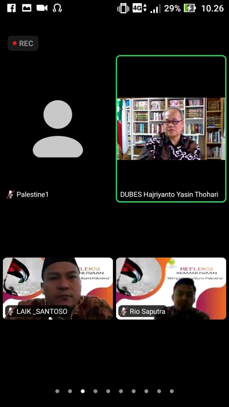 Suasana diskusi online membahas konflik di Palestina dari perspektif kemanusiaan yang ditaja UMRI