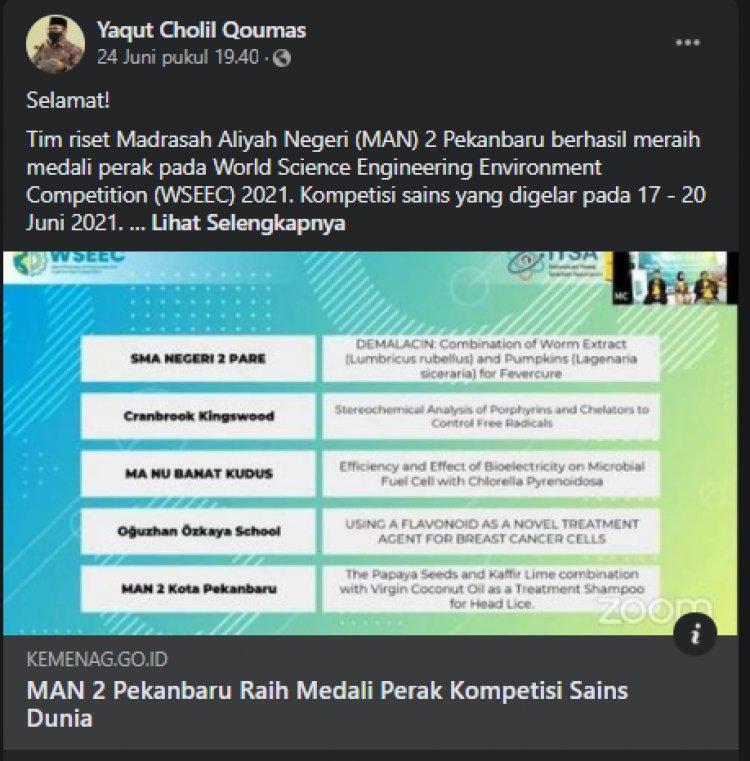 Prestasi Siswa MAN 2 Pekanbaru di WSEEC 2021 Diapresiasi Menteri Agama